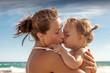 summer beach mother baby