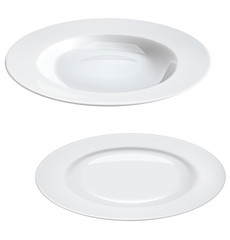 Empty plates isolated on white.