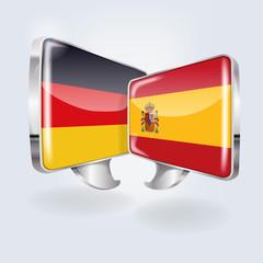 Sprechblasen in deutsch und spanisch
