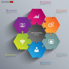 Modern Design Minimal jigsaw style infographic