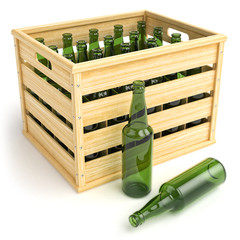 Wooden box with empty beer bottles.
