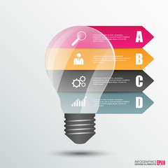 Infographics lightbulb design template
