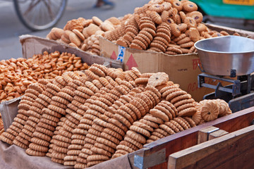 Mobile biscuit stall in an Indian market