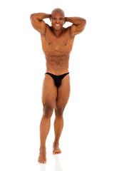 young african bodybuilder posing