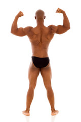 rear view of african bodybuilder