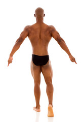 back view of african muscular man
