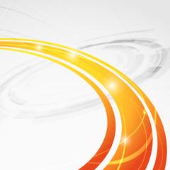 Bright orange wave folder abstraction