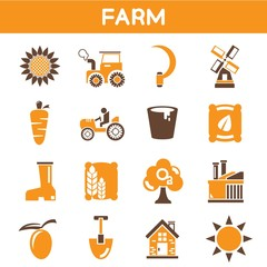 farm icons, orange color theme