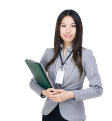 Asia businesswoman clipboard