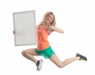 Powerfrau mit Werbeplakat