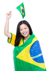 Asian woman with Brazil flag