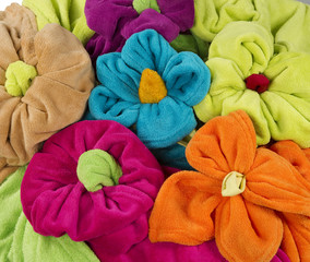 stack of colored terry towel shape of a flower