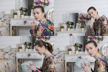 Collage of four portraits of girl in the children's room