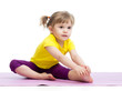 Leinwanddruck Bild - Kid girl doing fitness exercises