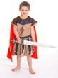 little boy dressed as a knight.