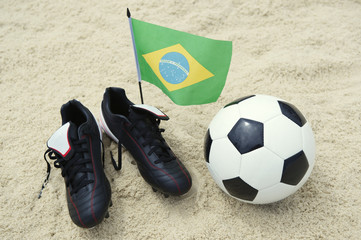 Football Boots Brazilian Flag Soccer Ball on Sand