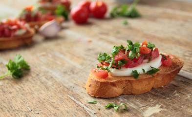 Bruschetta with fresh tomato and mozzarella