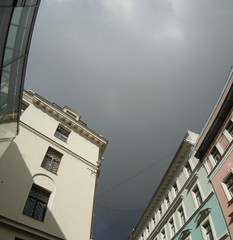 Cityscape with thunderclouds (Riga, Latvia)