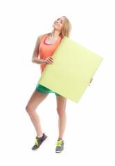 Sportliches Mädchen mit Plakat