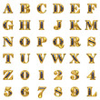 golden alphabet on white background