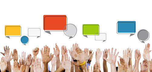 Multiethnic Hands Raised with Speech Bubbles