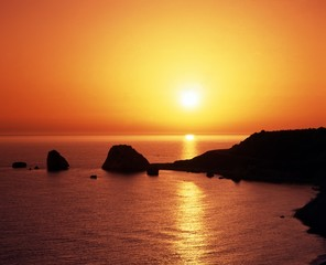 Aphrodites rock at sunset, Petra tou Romiou, Cyprus.