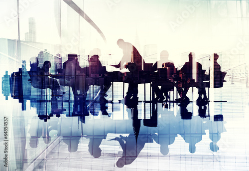 Abstract Image of Business People\'s Silhouettes in a Meeting
