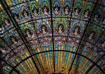 Détail du vitrail du Palau de la Musica.