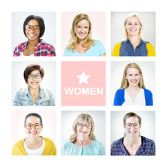 Portrait of Multiethnic Diverse Cheerful Women