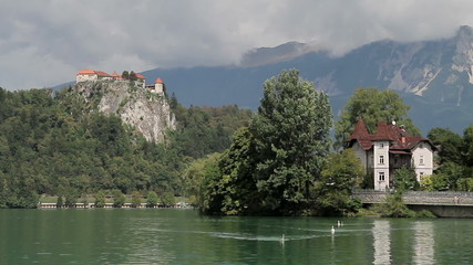 Bled Lake and old faiortress surrounded by mountains