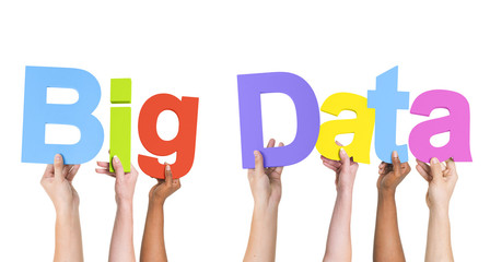 Diverse Hands Holding the Word Big Data