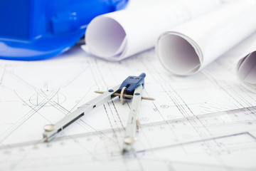Construction drawing on an architect's desk