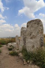 Tel Gezer .Pagan stone columns . Israel