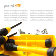 hand tools, yellow screwdriver set isolated on White background