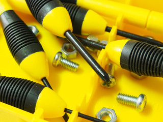 hand tools, yellow screwdriver set