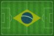 Fußballfeld mit Brasilienflagge