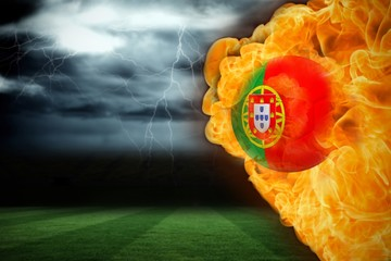 Fire surrounding portugal flag football
