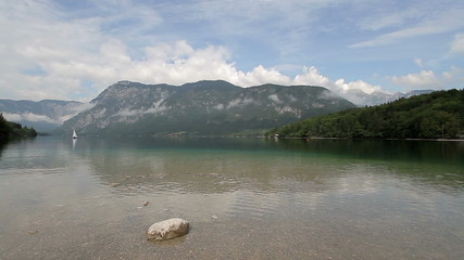 Beautiful mountain lake - Bohinj, Slovenia - pan shot