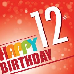 12th Birthday retro party invite/template.Bright/colorful