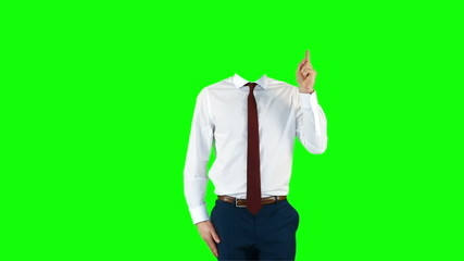 Headless businessman gesturing to camera