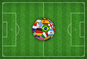 Spielfeld mit buntem Fußball