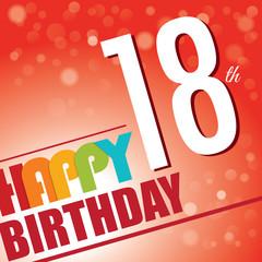 18th Birthday retro party invite/template.Bright/colorful
