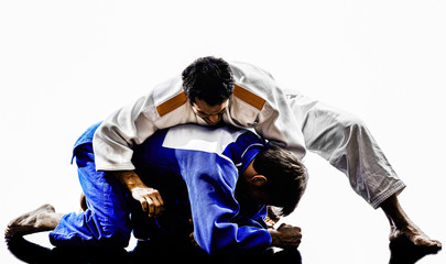 judokas fighters fighting men silhouettes