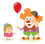 Circus clown with balloon and girl poster