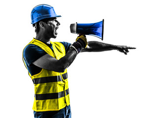 construction worker signaling megaphone silhouette