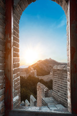 Great Wall outside door and the door at sun