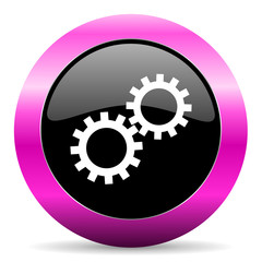 gear pink glossy icon