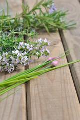 ciboulette, thym et romarin en fleurs