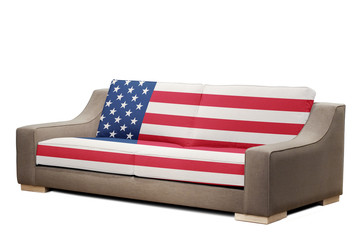 modern sofa with USA flag (clipping path )