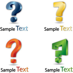 3d question mark vector icon, set of color versions. Contain